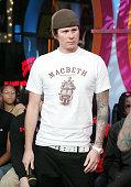 Tom from Blink182 during Fabolous Omarion and Blink 182 Visit MTV's 'TRL' November 10 2004 at MTV Studios Times Square in New York City New York...