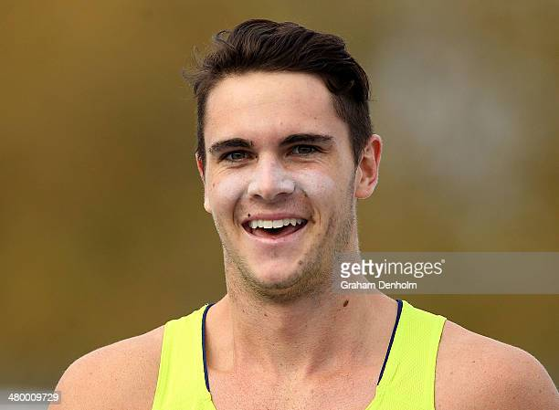 Tom Gamble of Australia smiles after winning the Men's 100 metres Open during the IAAF Melbourne World Challenge at Olympic Park on March 22 2014 in...