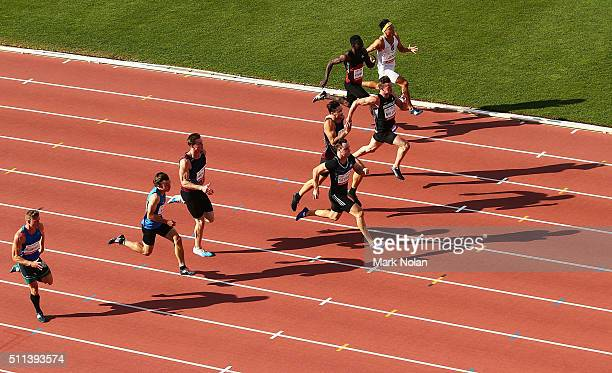 Tom Gamble of Queensland leads the Mens 100 Metre race during the Canberra Track Classic at the AIS Athletics track February 20 2016 in Canberra...