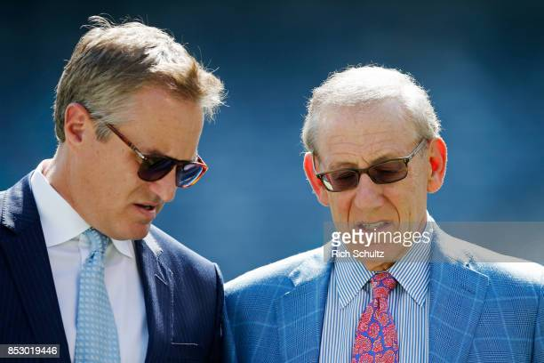 Tom Garfinkel President and Chief Executive Officer and Stephen M Ross Owner of the Miami Dolphins look on prior to an NFL game against the New York...