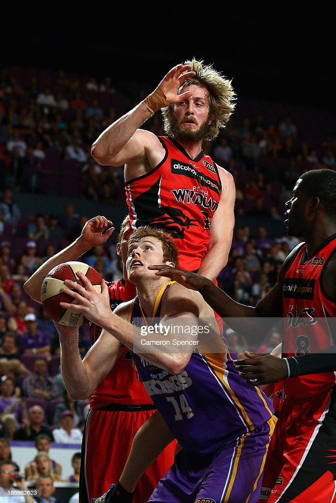 Tom Garlepp of the Kings attempts to shoot during the round three NBL match between the Sydney Kings and the Perth Wildcats at Sydney Entertainment Centre in October 27, 2013 in Sydney, Australia.