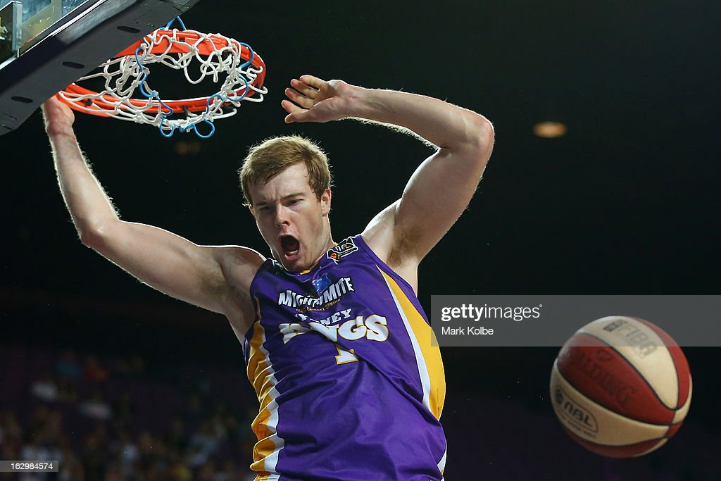Tom Garlepp of the Kings dunks during the round 21 NBL match between the Sydney Kings and the Townsville Crocodiles at Sydney Entertainment Centre on March 3, 2013 in Sydney, Australia.