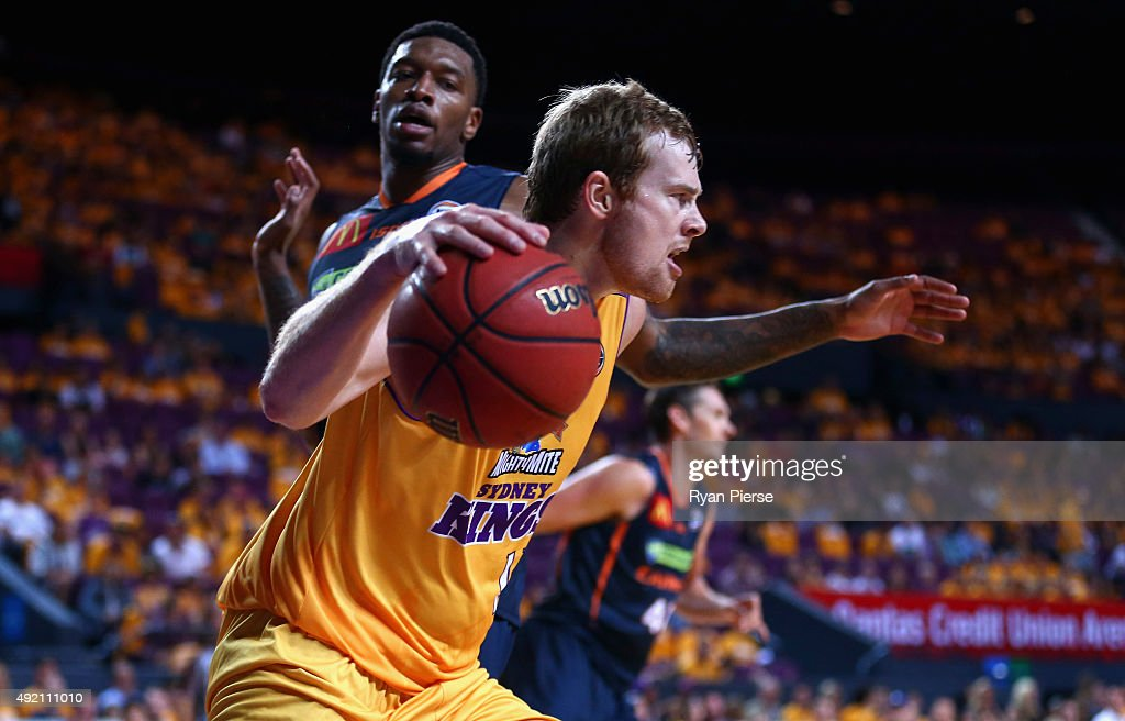 Tom Garlepp of the Kings pushes forward during the round one NBL match between the Sydney Kings and the Cairns Taipans at Qantas Credit Union Arena on October 10, 2015 in Sydney, Australia.