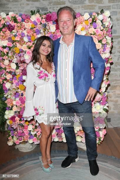 Tom Gerhardt and his wife Nadja da Silva during the wedding of Torsten Koch and Annika Hofmann at Hotel Wiesergut on July 22 2017 in...