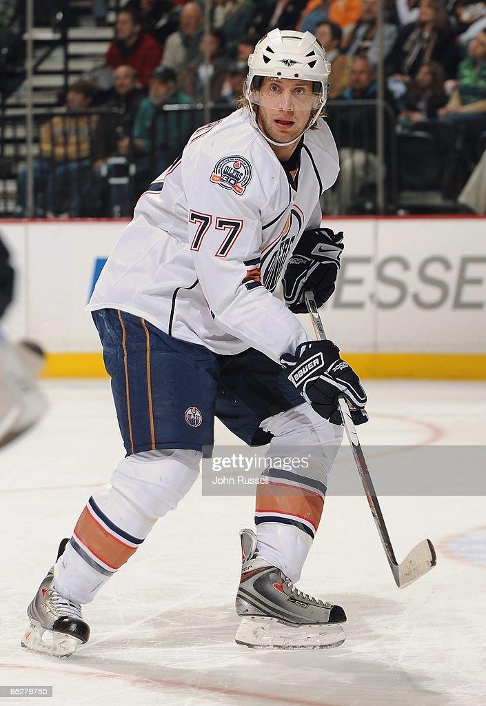 Tom Gilbert of the Edmonton Oilers skates against the Nashville Predators at the Sommet Center on March 3 2009 in Nashville Tennessee