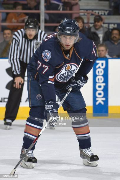 Tom Gilbert of the Edmonton Oilers stands his ground on the point against the Minnesota Wild at Rexall Place on February 28 2009 in Edmonton Alberta...