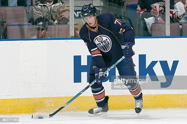 Tom Gilbert of the Edmonton Oilers warms up before a game against the St Louis Blues at Rexall Place on March 11 2008 in Edmonton Alberta Canada