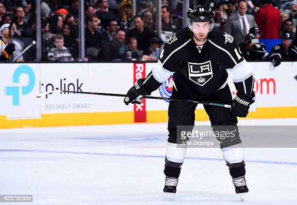 Tom Gilbert of the Los Angeles Kings lines up for a faceoff against the Nashville Predators on October 27 2016 at Staples Center in Los Angeles...
