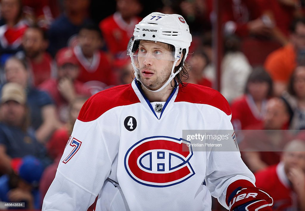 Tom Gilbert of the Montreal Canadiens during the NHL game against the Arizona Coyotes at Gila River Arena on March 7 2015 in Glendale Arizona The...