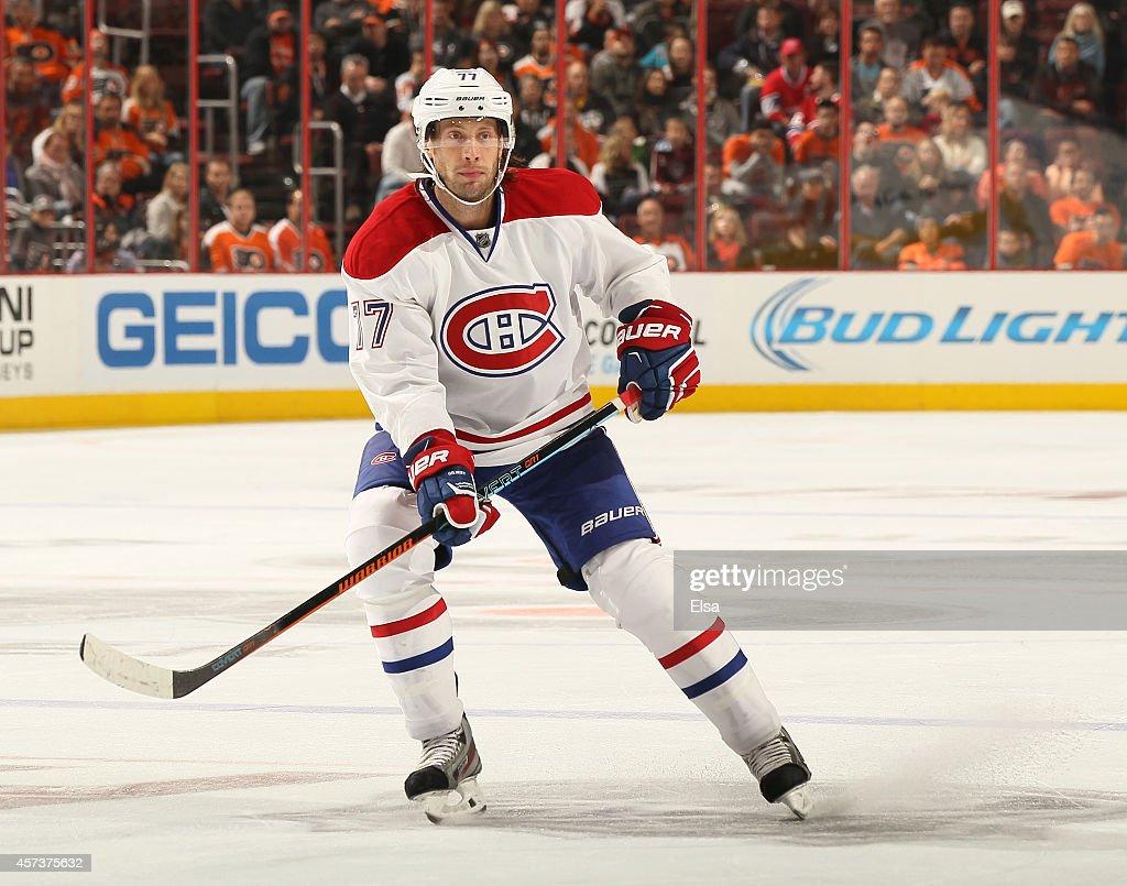 Tom Gilbert of the Montreal Canadiens skates against the Philadelphia Flyers on October 11 2014 at the Wells Fargo Center in Philadelphia...