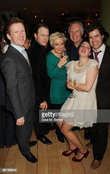 Tom GoodmanHill Samuel West Amanda Drew Tim PigottSmith Lucy Prebble and Rupert Goold attend the afterparty following the press night of 'Enron' at...