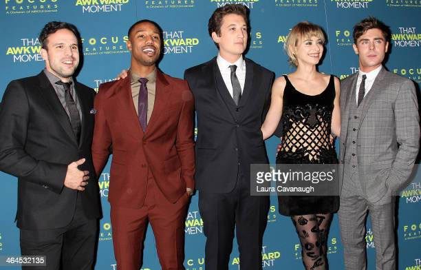 Tom Gormican Michael B Jordan Miles Teller Imogen Poots and Zac Efron attend the 'That Awkward Moment' screening at Sunshine Landmark on January 22...