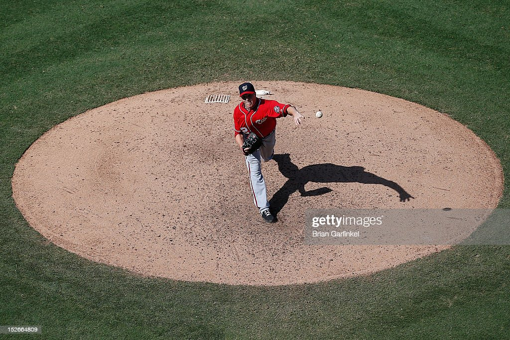 <a gi-track='captionPersonalityLinkClicked' href=/galleries/search?phrase=Tom+Gorzelanny&family=editorial&specificpeople=748773 ng-click='$event.stopPropagation()'>Tom Gorzelanny</a> #32 of the Washington Nationals is seen throwing a pitch from an elevated position during the game against the Philadelphia Phillies at Citizens Bank Park on August 26, 2012 in Philadelphia, Pennsylvania. The Phillies won 4-1.