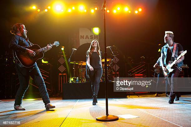 Tom Gossin Rachel Reinert and Mike Gossin of Gloriana perform onstage at the 2015 NASH Bash at Barclays Center on March 24 2015 in New York City