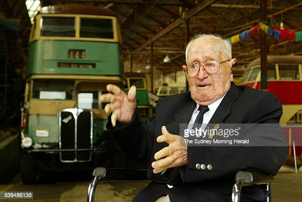 Tom Gould on his 100th birthday at the Bus and Truck Museum in Tempe on 17 August 2004 Mr Gould is reflecting on his years as a bus driver that led...