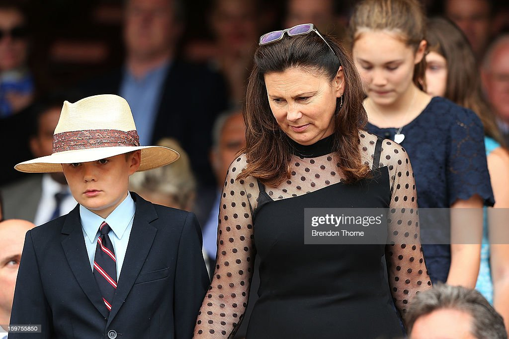 Tom Greig, Vivian Greig and Beau Greig arrive at the Tony Greig memorial service at Sydney Cricket Ground on January 20, 2013 in Sydney, Australia.