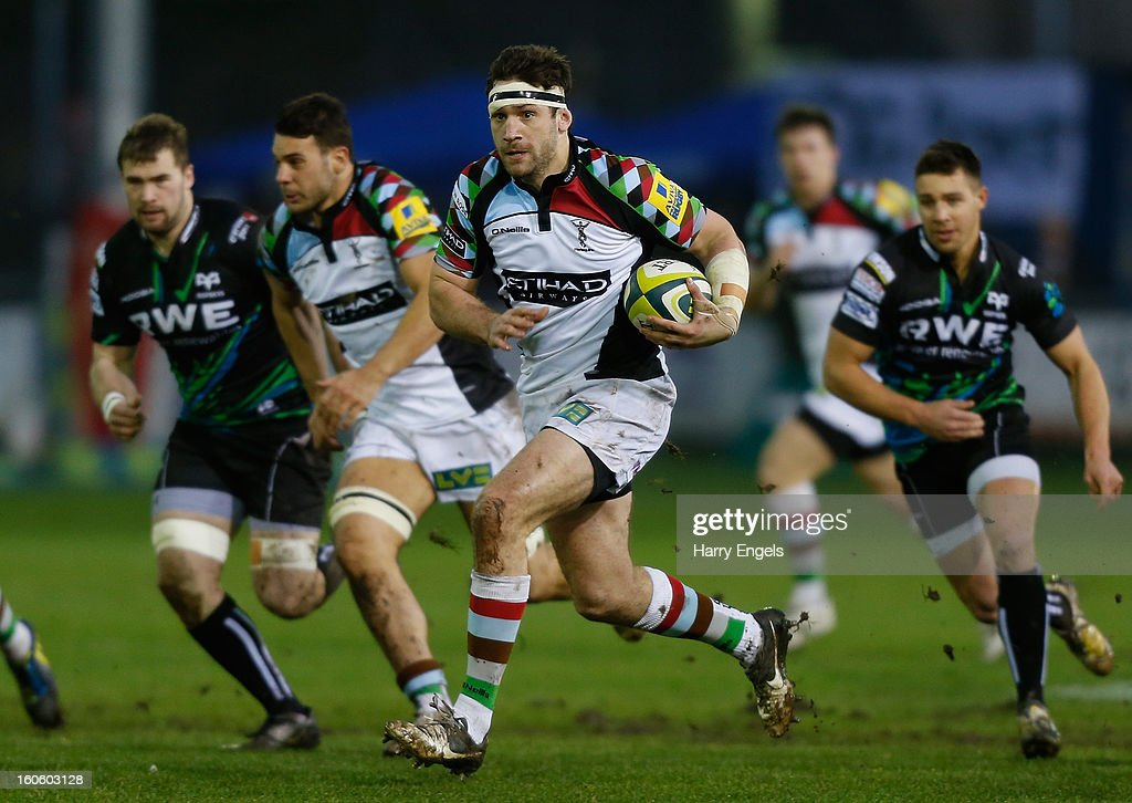 Tom Guest of Harlequins charges upfield during the LV= Cup match between Ospreys and Harlequins at Brewery Field on February 3, 2013 in Bridgend, Wales.