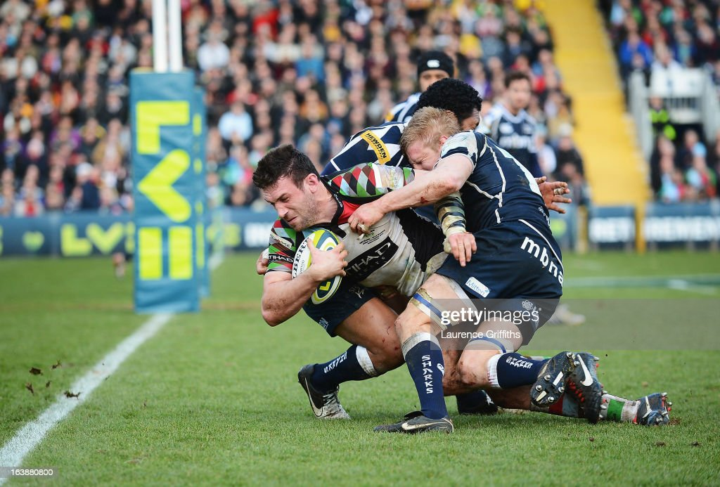 Tom Guest of Harlequins drives on to score his team's second try during the LV= Cup Final between Sale Sharks and Harlequins at Sixways Stadium on March 17, 2013 in Worcester, England.