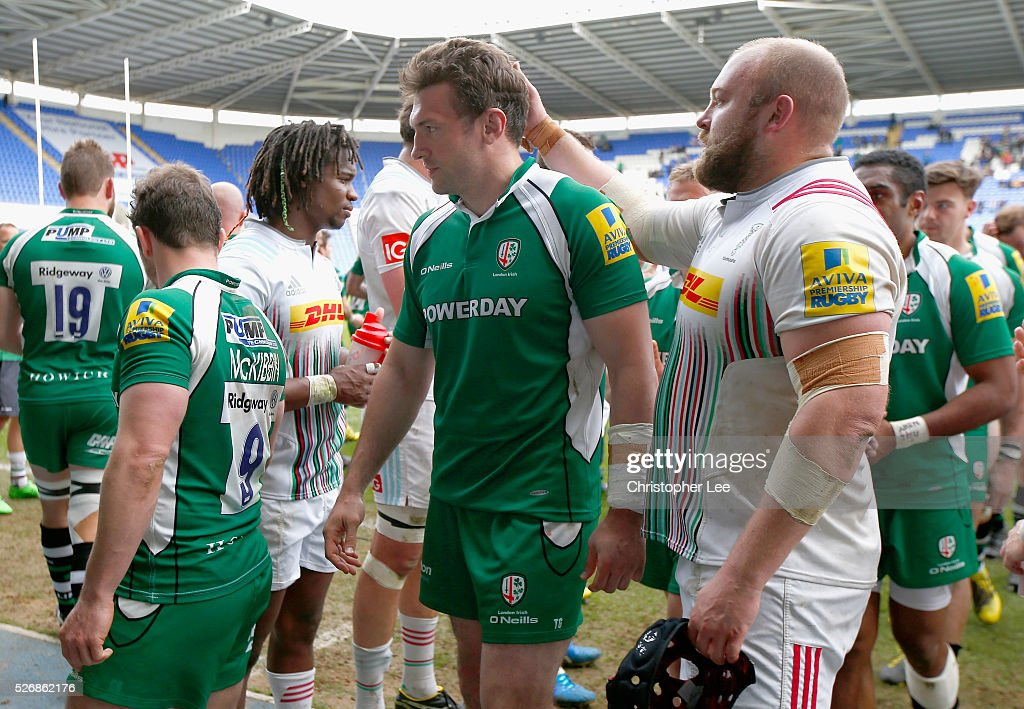 Tom Guest of Irish looks dejected during the Aviva Premiership match between London Irish and Harlequins at the Madejski Stadium on 1 May, 2016 in Reading, England.
