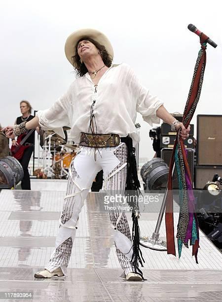 Tom Hamilton and Steven Tyler of Aerosmith during NFL Kickoff Live 2003 Presented By Pepsi Vanilla Aerosmith Rehearsal at National Mall in Washington...