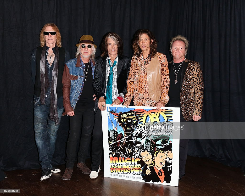 Tom Hamilton, Brad Whitford, Joe Perry, Steven Tyler and Joey Kramer of the Rock Band Aerosmith attend the press junket to announce 'Global Warming' the North American tour at House of Blues Sunset Strip on September 18, 2012 in West Hollywood, California.