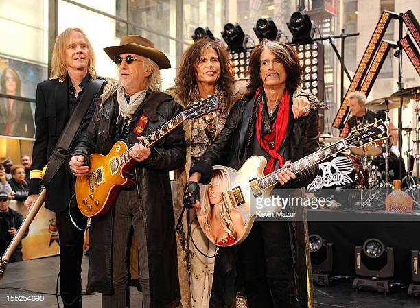Tom Hamilton Brad Whitford Steven Tyler and Joe Perry of Aerosmith perform on NBC's 'Today' at Rockefeller Plaza on November 2 2012 in New York City