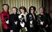 Tom Hamilton Brad Whitford Steven Tyler Joe Perry and Joey Kramer of Aerosmith inductees