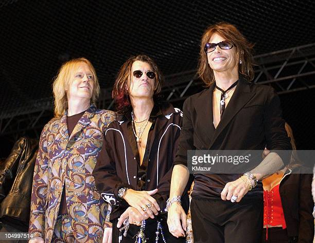 Tom Hamilton Joe Perry and Steven Tyler during MTV Icon Honors Aerosmith Show at Sony Pictures Studios in Culver City California United States