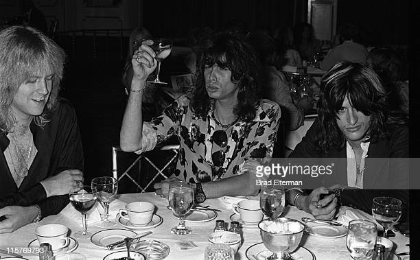 Tom Hamilton Steven Tyler and Joe Perry of Aerosmith at the 'Sgt Pepper' movie party at the Beverly Hilton Hotel in Beverly Hills California 1978...