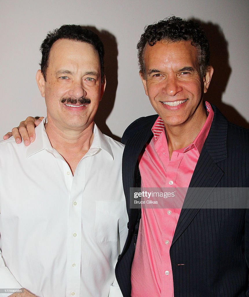 <a gi-track='captionPersonalityLinkClicked' href=/galleries/search?phrase=Tom+Hanks&family=editorial&specificpeople=201790 ng-click='$event.stopPropagation()'>Tom Hanks</a> and Actors Fund President <a gi-track='captionPersonalityLinkClicked' href=/galleries/search?phrase=Brian+Stokes+Mitchell&family=editorial&specificpeople=213301 ng-click='$event.stopPropagation()'>Brian Stokes Mitchell</a> pose backstage at The Actors Fund of America's benefit final matinee performance of Broadway's 'Lucky Guy' at The Broadhurst Theatre on July 3, 2013 in New York City.
