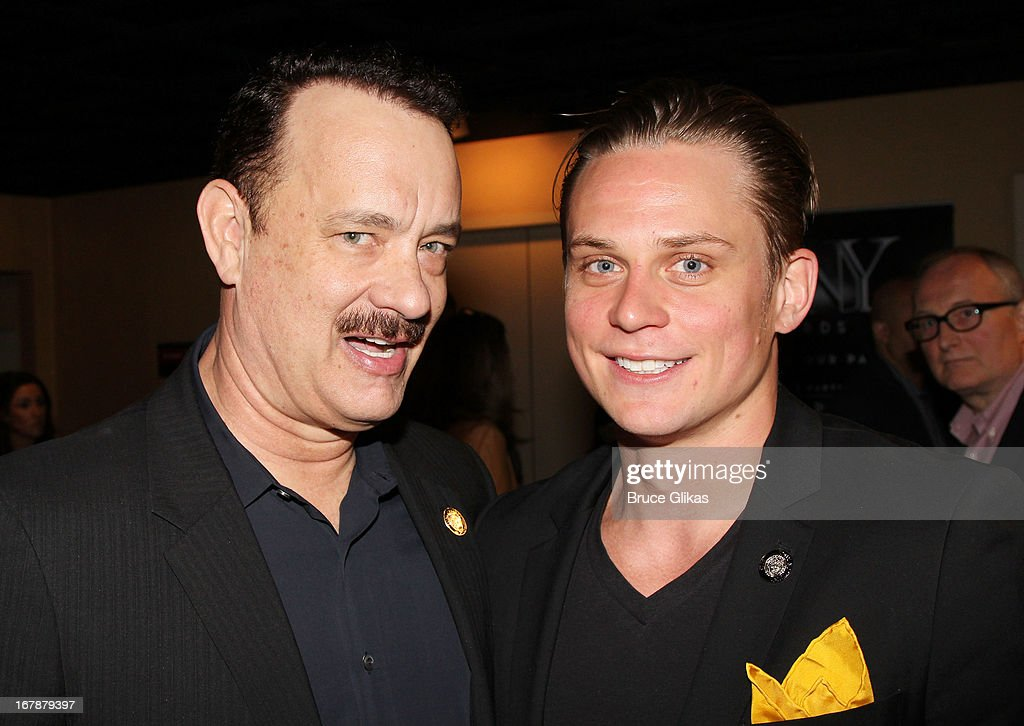 Tom Hanks and Billy Magnussen attend the 2013 Tony Awards: The Meet The Nominees Press Junket at the Millenium Hilton on May 1, 2013 in New York City.