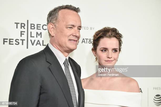 Tom Hanks and Emma Watson attend 'The Circle' premiere during the 2017 Tribeca Film Festival at BMCC Tribeca PAC on April 26 2017 in New York City
