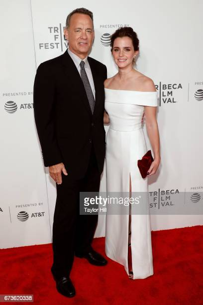 Tom Hanks and Emma Watson attend the premiere of 'The Circle' during the 2017 Tribeca Film Festival at Borough of Manhattan Community College on...