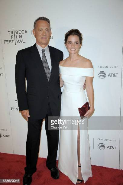 Tom Hanks and Emma Watson attends 'The Circle' screening during the 2017 Tribeca Film Festival at BMCC Tribeca PAC on April 26 2017 in New York City
