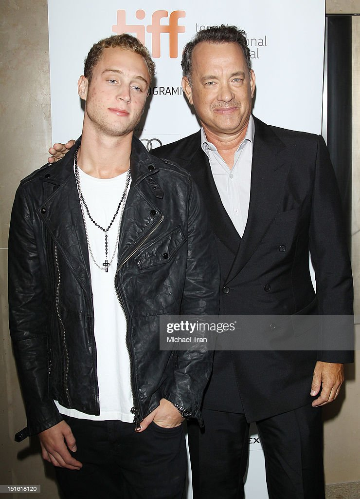 <a gi-track='captionPersonalityLinkClicked' href=/galleries/search?phrase=Tom+Hanks&family=editorial&specificpeople=201790 ng-click='$event.stopPropagation()'>Tom Hanks</a> (R) and his son Chet Hanks arrive at 'Cloud Atlas' premiere during the 2012 Toronto International Film Festival held at Princess of Wales Theatre on September 8, 2012 in Toronto, Canada.