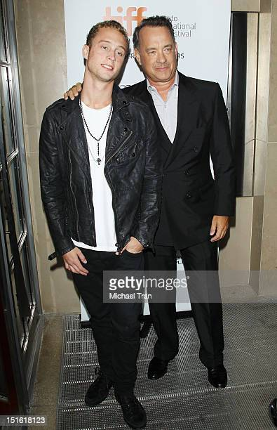 Tom Hanks and his son Chet Hanks arrive at 'Cloud Atlas' premiere during the 2012 Toronto International Film Festival held at Princess of Wales...