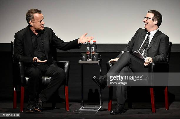 Tom Hanks and John Oliver speak onstage at Tribeca Talks Storytellers Tom Hanks With John Oliver during the 2016 Tribeca Film Festival at BMCC John...