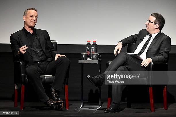 Tom Hanks and John Oliver speak onstage at Tribeca Talks Storytellers Tom Hanks With John Oliver during the 2016 Tribeca Film Festival at BMCC John...
