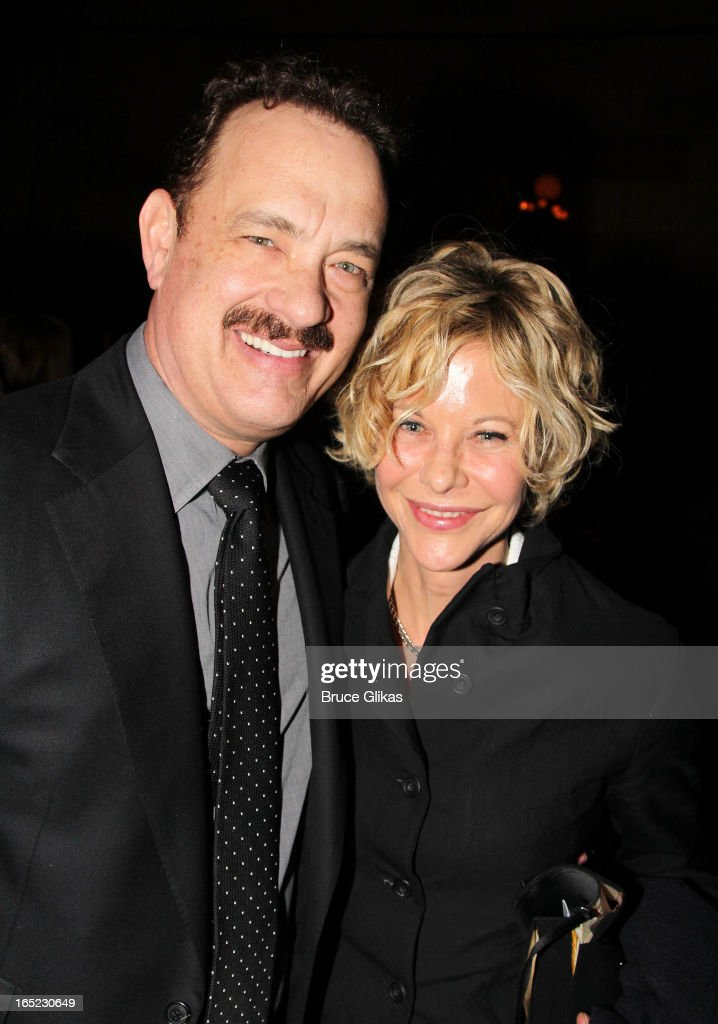 <a gi-track='captionPersonalityLinkClicked' href=/galleries/search?phrase=Tom+Hanks&family=editorial&specificpeople=201790 ng-click='$event.stopPropagation()'>Tom Hanks</a> and <a gi-track='captionPersonalityLinkClicked' href=/galleries/search?phrase=Meg+Ryan&family=editorial&specificpeople=203107 ng-click='$event.stopPropagation()'>Meg Ryan</a> (co-stars in 'You've Got Mail' and 'Sleepless in Seattle') pose at the opening night party for Broadway's 'Lucky Guy' at Gotham Hall on April 1, 2013 in New York City.