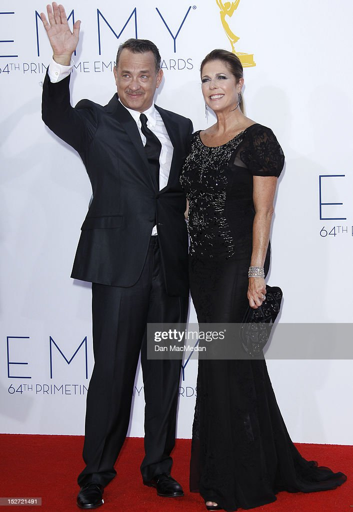 <a gi-track='captionPersonalityLinkClicked' href=/galleries/search?phrase=Tom+Hanks&family=editorial&specificpeople=201790 ng-click='$event.stopPropagation()'>Tom Hanks</a> and Rita Wilson arrives at the 64th Primetime Emmy Awards held at Nokia Theatre L.A. Live on September 23, 2012 in Los Angeles, California.