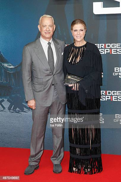 Tom Hanks and Rita Wilson attend the 'Bridge of Spies Der Unterhaendler' World Premiere In Berlin on November 13 2015 in Berlin Germany