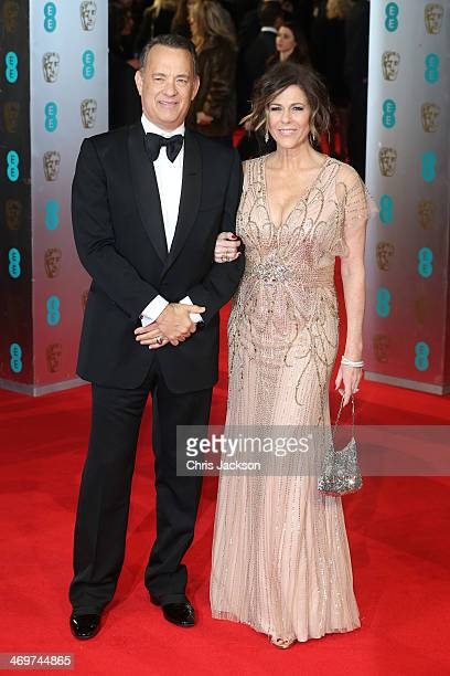 Tom Hanks and Rita Wilson attend the EE British Academy Film Awards 2014 at The Royal Opera House on February 16 2014 in London England