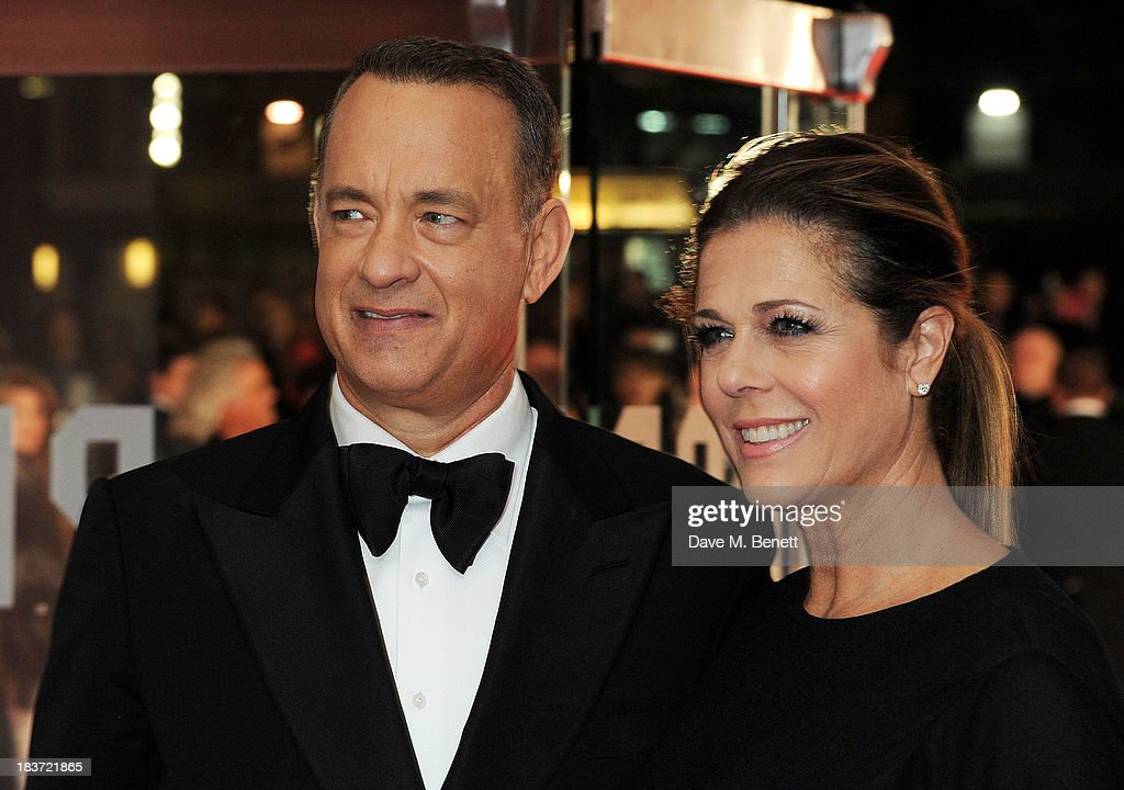 Tom Hanks (L) and Rita Wilson attend the European Premiere of 'Captain Phillips' on the opening night of the 57th BFI London Film Festival at Odeon Leicester Square on October 9, 2013 in London, England.