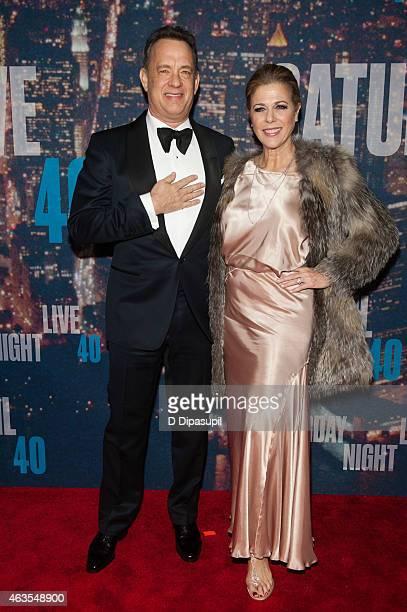 Tom Hanks and Rita Wilson attend the SNL 40th Anniversary Celebration at Rockefeller Plaza on February 15 2015 in New York City