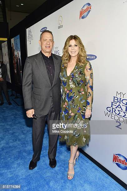 Tom Hanks and Rita Wilson producers of My Big Fat Greek Wedding 2 arrive at the premiere and walk the Windex blue carpet in New York City on March 15...