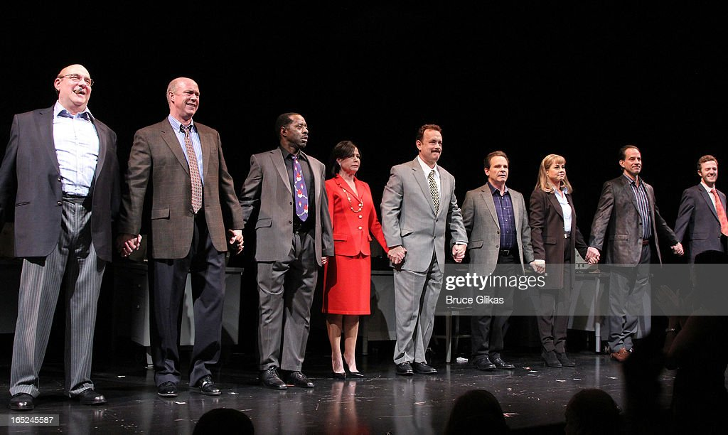 <a gi-track='captionPersonalityLinkClicked' href=/galleries/search?phrase=Tom+Hanks&family=editorial&specificpeople=201790 ng-click='$event.stopPropagation()'>Tom Hanks</a> and the cast take the opening night curtain call for Broadway's 'Lucky Guy' at The Broadhurst Theatre on April 1, 2013 in New York City.