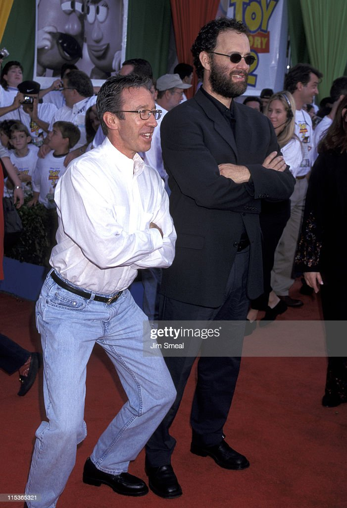 <a gi-track='captionPersonalityLinkClicked' href=/galleries/search?phrase=Tom+Hanks&family=editorial&specificpeople=201790 ng-click='$event.stopPropagation()'>Tom Hanks</a> and <a gi-track='captionPersonalityLinkClicked' href=/galleries/search?phrase=Tim+Allen&family=editorial&specificpeople=206248 ng-click='$event.stopPropagation()'>Tim Allen</a> during 'Toy Story 2' - World Premiere at El Captain Theatre in Hollywood, California, United States.