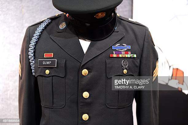 A Tom Hanks Army uniform from Forrest Gump is displayed during a press preview on November 19 2015 in New York as Bonhams And Turner Classic Movies...