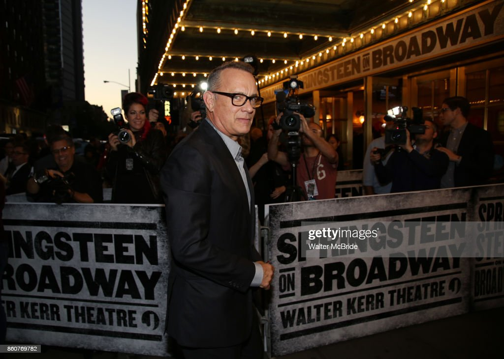 Tom Hanks attending the opening night performance for 'Springsteen on Broadway' at The Walter Kerr Theatre on October 12, 2017 in New York City.