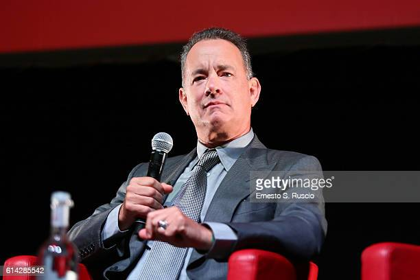 Tom Hanks attends a press conference on October 13 2016 in Rome Italy